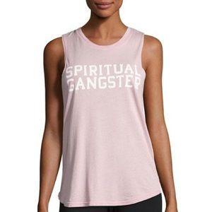 Spiritual Gangster Pink Varsity Muscle Tank Top
